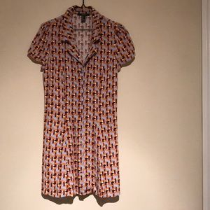 70's style dress with buttons down the front.